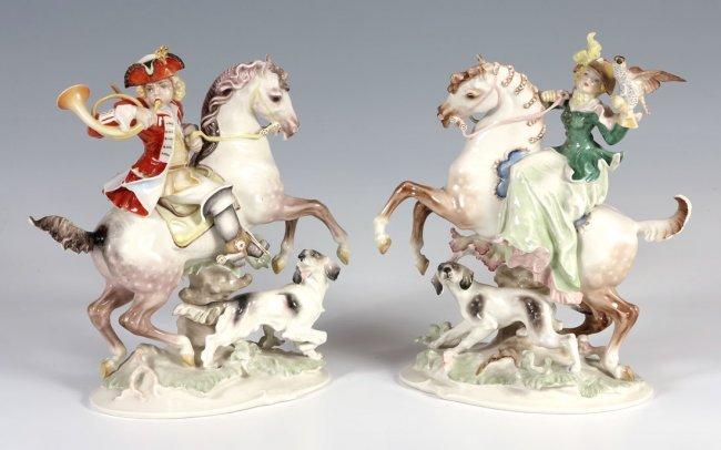 202 pair hutschenreuther porcelain horse figurines lot 202. Black Bedroom Furniture Sets. Home Design Ideas