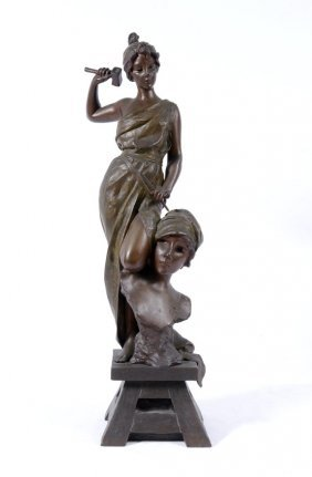 VILLANIS MAIDEN SCULPTOR BRONZE