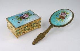 NIVARD-PINGEN LIMOGES ENAMEL BOX & MIRROR