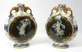 A GRAND PAIR OF ROYAL WORCESTER MEDALLION VASES