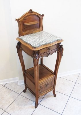 FRENCH WALNUT MARBLE TOP SIDE TABLE