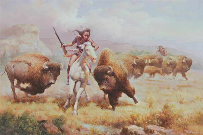 Troy Denton Indian Buffalo Hunt Painting Lot 1404