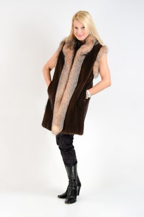 Mink & Crystal Fox Fur Vest