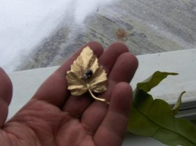 Gold Brooch, Bug On The Leave