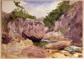 John Henry Hill Watercolor Of Landscape Scene (white