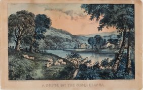 Currier & Ives Lithograph, A Scene On The Susquehanna