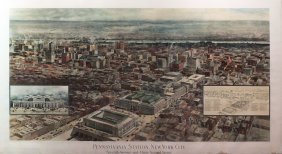 H. Hawley Lithograph Of Penn Station, Ny - 1910