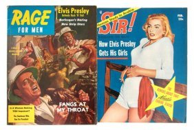 A Pair Of 1957 Men's Magazines With Articles By Elv