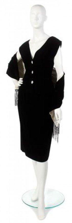 An Oscar De La Renta Black Velvet Cocktail Dress,