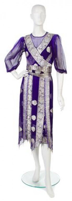 A Thea Porter Couture Purple Silk Chiffon Cocktail