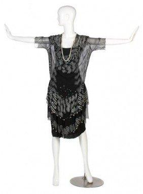 A Zandra Rhodes Black Silk Chiffon Cocktail Dress,