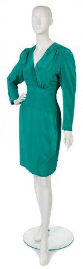 A Carolina Herrera Green Silk Dress.