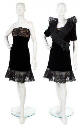 A Jacqueline De Ribes Black Velvet And Lace Cockta