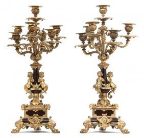 A Pair Of Louis XV Gilt Bronze And Marble Seven-Li