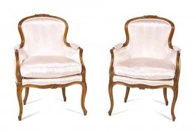 A Pair Of Louis XV Style Bergeres, Height 39 1/2 I