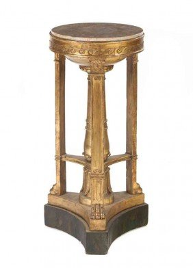 A Louis Style XVI Giltwood Pedestal Table, Height