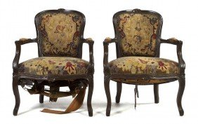 A Pair Of Louis XVI Style Fauteuils, Height 34 Inc