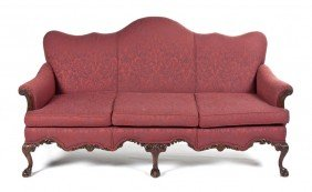 A Victorian Camelback Sofa, Width 75 1/2 Inches.