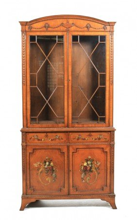 An Edwardian Bookcase Cabinet, Height 98 X Width 4