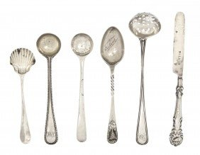 A Collection Of Six English Silver Spoons, Length