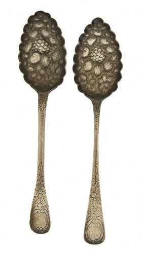 Two English Silver Berry Spoons, Length Of First 8