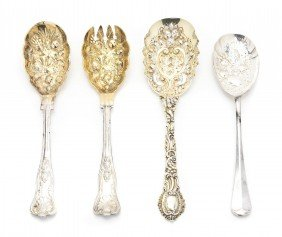 A Set Of Four English Gilt Silver Berry Spoons, Ch