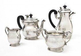 An English Silver Coffee And Tea Service, Wakely A