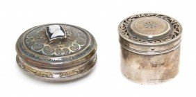 Two French Silver Diminutive Boxes, Diameter Of L