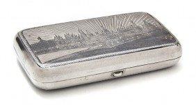 A Russian Niello Silver Cigarette Case, Width 4 I