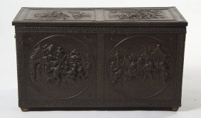 A Continental Pressed Copper Kindling Box, Height