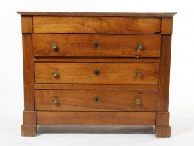 A Continental Mahogany Chest, Height 35 1/2 X Wid
