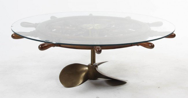 2351 A Brass Ship Wheel Coffee Table Diameter 51 Inch Lot 2351