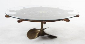 A Brass Ship Wheel Coffee Table, Diameter 51 Inch