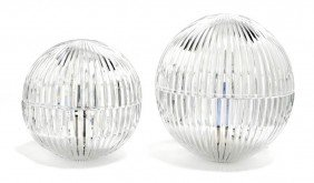 A Pair Of Riedel Glass Lamps, Diameter Of Larger 11