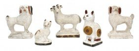 Five American Chalkware Staffordshire Style Animals,