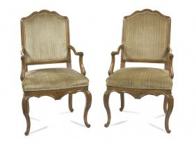 A Pair Of Louis XV Style Fauteuils, Height 44 Inc