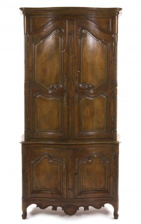 A French Provincial Walnut Armoire, Height 92 1/4