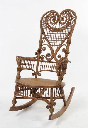 A Victorian Rattan Rocking Armchair, Attributed T
