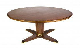 A Contemporary Walnut Dining Table, Height 29 X D