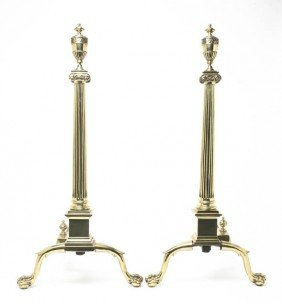 A Pair Of Neoclassical Brass And Iron Andirons, H