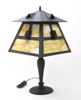 An American Slag Glass Table Lamp, Height Overall