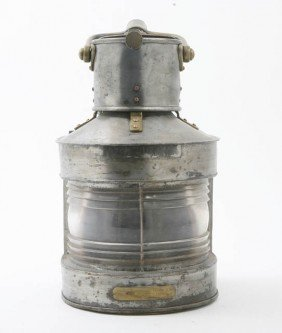 An English Brass And Tin Ship's Lantern, Birmingh