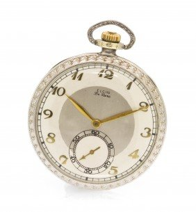 A 14 Karat Gold Corsican De Luxe Pocket Watch, Elgi