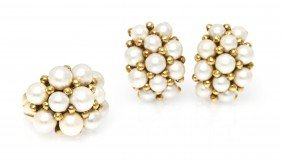 A Set Of 14 Karat Yellow Gold And Cultured Pearl J