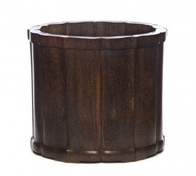 A Large Zitan Brushpot, Height 7 3/8 X Diameter 8 3