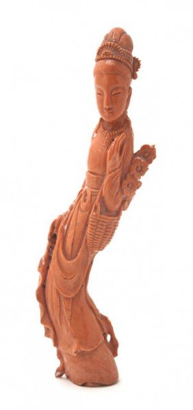 A Coral Carving Of A Woman, Height 7 1/2 Inches.