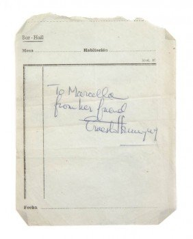 HEMINGWAY, ERNEST. Autograph Note Signed, One Page