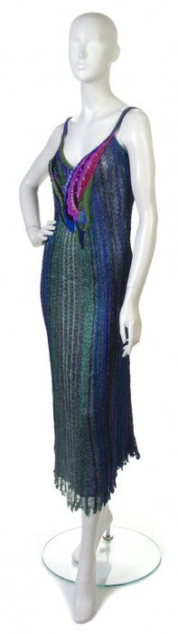 A Mali Green And Blue Knit Cocktail Dress,