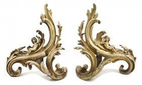 A Pair Of Rococo Style Gilt Bronze Chenets, Height 1