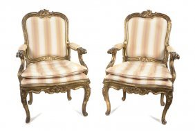 A Pair Of Louis XV Style Giltwood Fauteuils, Height